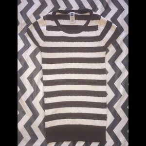 Brown and white striped short sleeve sweater